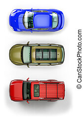 Set of top-view cars - Three top view automobiles isolated...