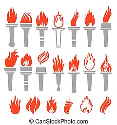 Set of Torch Icon Isolated