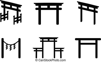 Set of Torii icon in silhouette style