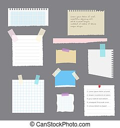 Set of torn leaves with notes from a notebook, a diary or an album pasted with scotch tape. Vector, illustration in flat style isolated on grey background EPS10