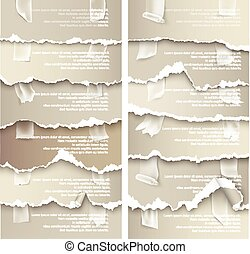 set of torn paper with adhesive tape