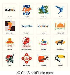 Set of toucan, antelope, judo, kids club, burrito, caviar, chess knight, football, deluxe icons