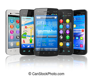 Set of touchscreen smartphones isolated on white reflective...