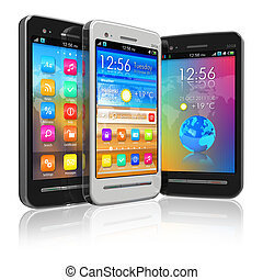 Set of touchscreen smartphones - Set of black and white ...