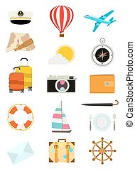 set of tourism icons. sailboat, hot air balloon, luggage, umbrella, airplane, camera, compass, mail, wallet, captain hat, yachting and food symbols. vector illustration
