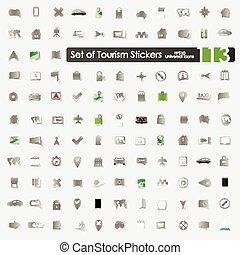 Set of tourism stickers