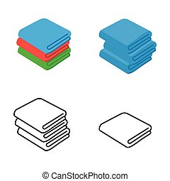 Set of towel vector illustrations. Folded towels in flat cartoon and line icon style.