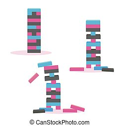 Set of tower game jenga. Wooden block game - Set of color...