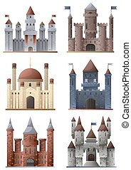 Set of towers and castles - Set of ancient buildings: tower...