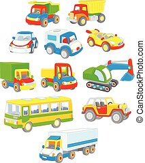 Set of toy cars, trucks and buses - Vector illustrations of ...