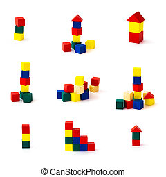 Set of toy wooden building blocks on white background. Full size.