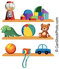 Set of toys in the shelf