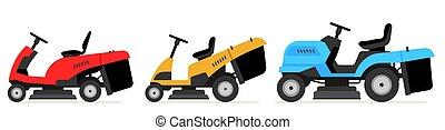 set of tractor lawnmower