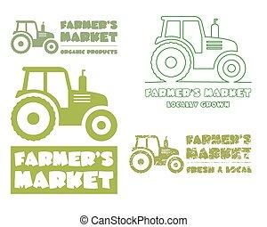 Set of Tractor logo design template. harvest or farm icon. Thin line, silhouette design. Organic farmer.'s market. Eco theme. Vector