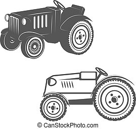 Set of tractors isolated on white background. Design elements fo