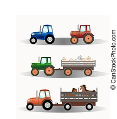Set of tractors with trailers carrying animals