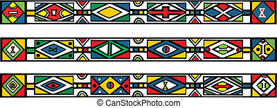 Set of traditional african ndebele patterns - vector ...