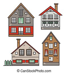 Set of traditional european style houses in old town. Neighborhood suburban. Colorful traditional street. Vector illustration
