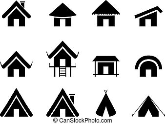 Set of traditional home icon in minimal