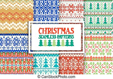 Set of traditional knitted Christmas patterns