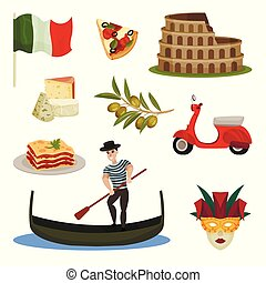 Set of traditional symbols of Italy. Vector illustration.