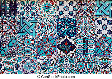 Set of traditional turkish ceramic tiles