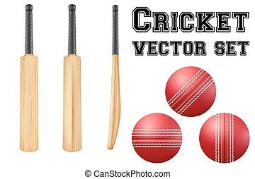 Traditional wood cricket bats and balls. - Set of...