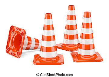 Set of Traffic Cones, 3D rendering