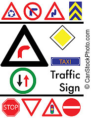 Set of traffic icons on a white background