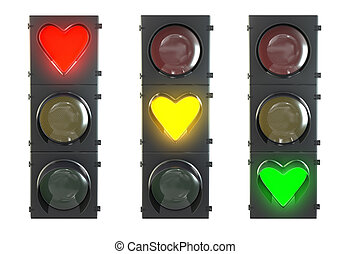 Set of traffic light with heart shaped red, yellow and green...