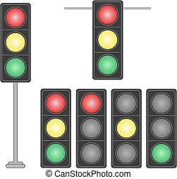 Set of traffic lights isolated on white background.