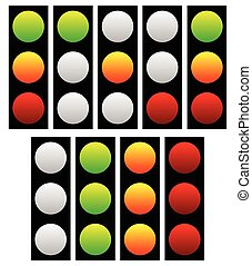 Set of traffic lights, lamps, signals. Green, yellow and red light.