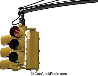 Set of traffic lights. Red signal.