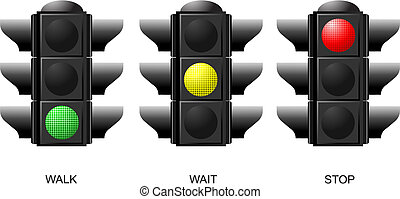 Set of traffic lights. Red signal. Yellow signal. Green signal