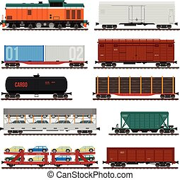 Collection of freight cars. Side view flat illustrations. Infographics use.