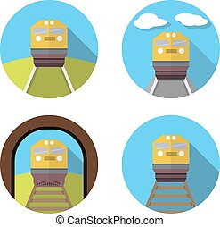 Set of train icon in flat