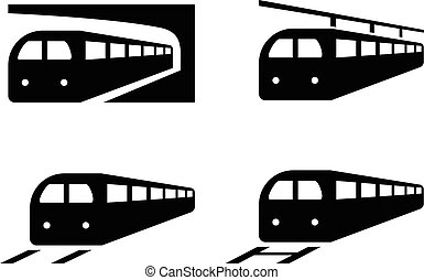 Set of train icons in silhouette style, vector