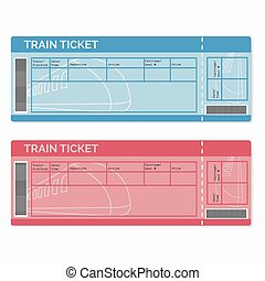 Train tickets cartoon illustration showing train ticket templates set of train tickets isolated on white maxwellsz