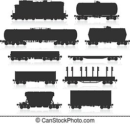 Set of train with freight wagons. - Set of train and...