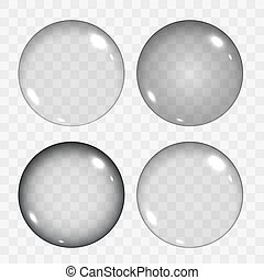 Set of Translucent Empty Glass Spheres or Circles