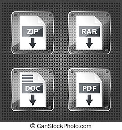 set of transparency rar, zip, doc and pdf download icons on...