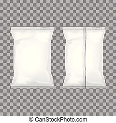Set of transparent and white foil bag packaging for food, snack, coffee, cocoa, sweets, crackers, nuts, chips. Vector plastic pack template