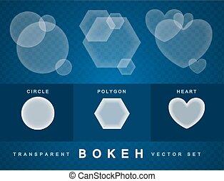 Set of transparent bokeh forms effect