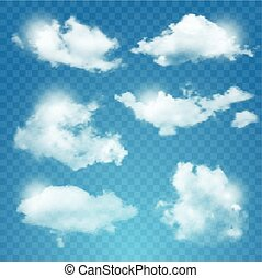 Set of transparent different clouds.