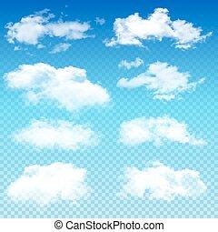 Set of transparent different clouds