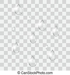 Set of transparent drops of different shapes in gray colors