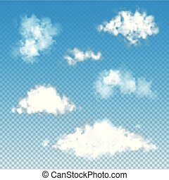 Set of transparent fluffy clouds. Vector illustration EPS 10