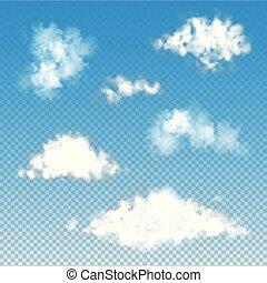 Set of transparent fluffy clouds. Vector illustration EPS 10