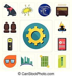Set of transparent gear, zipper, tennis court, contruction, nerd glasses, login screen, lithium battery, electrician, car seat icons
