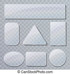 Set of transparent glass plates in different shapes